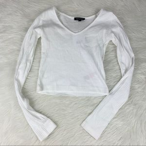 TOPSHOP Long sleeve fitted crop sweater